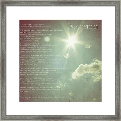 Desiderata Wishes Framed Print by Marianna Mills