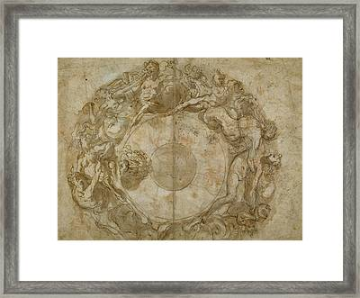 Design For A Circular Dish Recto,  Figure Studies Verso Framed Print by Litz Collection