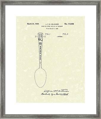Designer Spoon 1939 Patent Art Framed Print by Prior Art Design