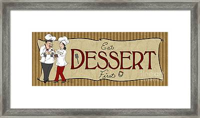 Desserts Kitchen Sign-dessert Framed Print by Shari Warren