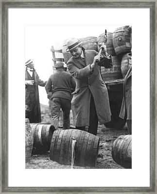 Destroying Barrels Of Beer Framed Print by Underwood Archives