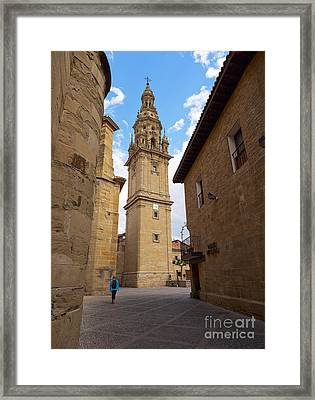 Detached Tower Of The Cathedral Of Santo Domingo De La Calzada Framed Print by Louise Heusinkveld