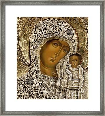 Detail Of An Icon Showing The Virgin Of Kazan By Yegor Petrov Framed Print by Russian School