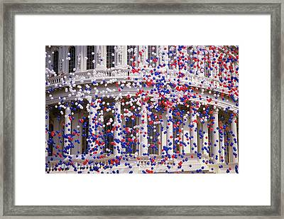 Detail Of Capitol Building With Red Framed Print by Panoramic Images