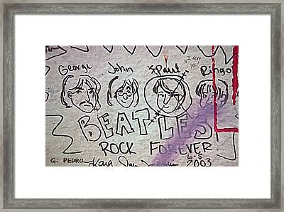 Detail Of Graffiti On Abbey Road Sign Framed Print by George Pedro