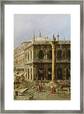 Detail Of Palazzo Della Zecca Framed Print by Michele Marieschi
