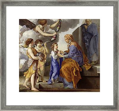 Detail Of The Education Of The Virgin Framed Print by Laurent de La Hyre