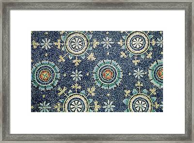 Detail Of The Floral Decoration From The Vault Mosaic Framed Print by Byzantine