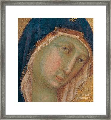 Detail Of The Virgin Mary Framed Print by Duccio di Buoninsegna