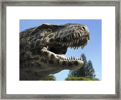 Detailed Headshot Of Tyrannosaurus Rex Framed Print by Rodolfo Nogueira