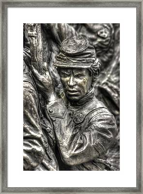 Determination.  State Of Delaware Monument Detail-e Gettysburg Autumn Mid-day. Framed Print by Michael Mazaika