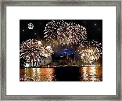 Detroit Fireworks Framed Print by Michael Rucker