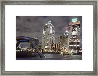 Detroit Fountain And Cityscape Framed Print by John McGraw