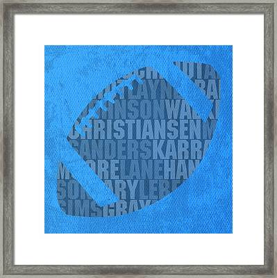 Detroit Lions Football Team Typography Famous Player Names On Canvas Framed Print by Design Turnpike
