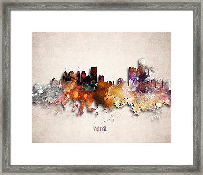 Detroit Painted City Skyline Framed Print by World Art Prints And Designs