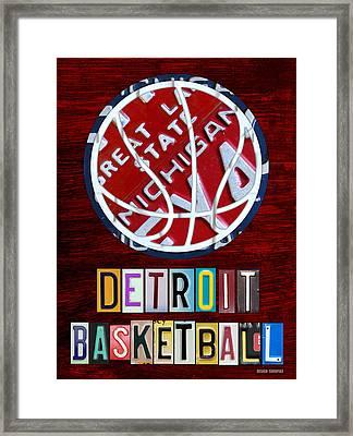 Detroit Pistons Basketball Vintage License Plate Art Framed Print by Design Turnpike