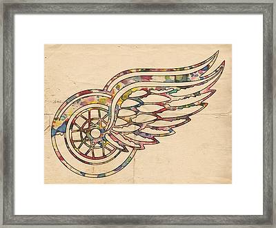Detroit Red Wings Poster Art Framed Print by Florian Rodarte