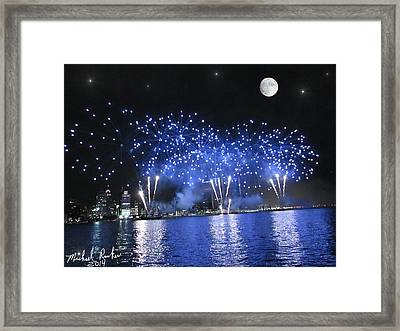 Detroit River Fireworks Framed Print by Michael Rucker