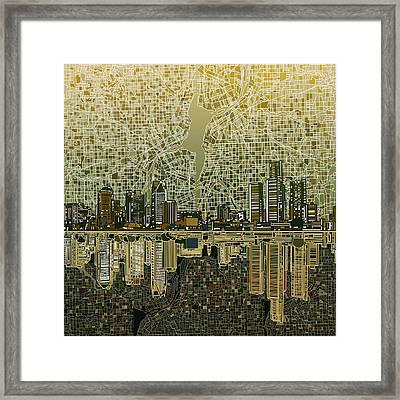 Detroit Skyline Abstract 4 Framed Print by Bekim Art