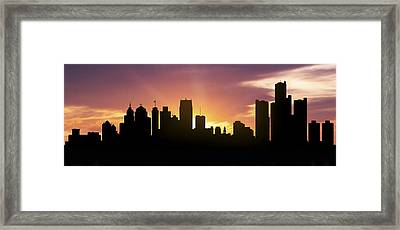 Detroit Skyline Panorama Sunset Framed Print by Aged Pixel