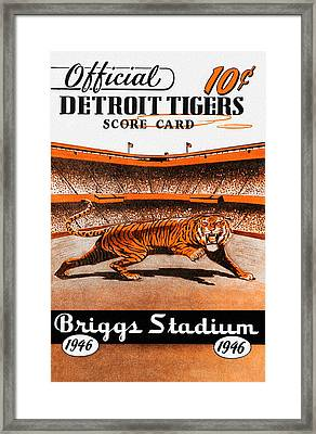 Detroit Tigers 1946 Scorecard Framed Print by Big 88 Artworks