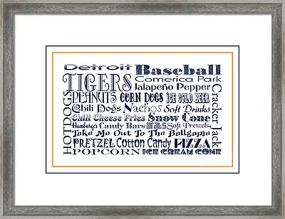 Detroit Tigers Baseball Game Day Food 3 Framed Print by Andee Design