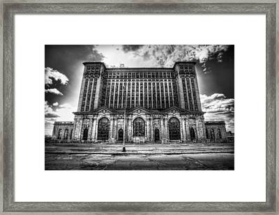Detroit's Abandoned Michigan Central Train Station Depot In Black And White Framed Print by Gordon Dean II