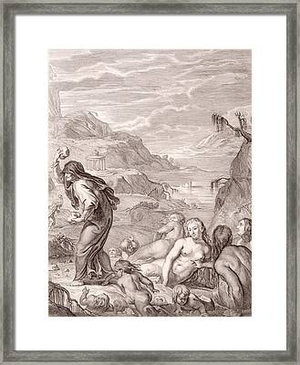 Deucalion And Pyrrha Repeople The World By Throwing Stones Behind Them Framed Print by Bernard Picart