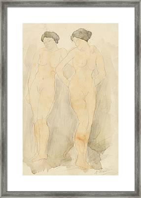 Deux Figures Debout Framed Print by Auguste Rodin