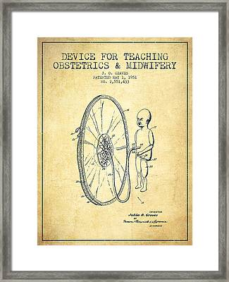 Device For Teaching Obstetrics And Midwifery Patent From 1951 - Vi Framed Print by Aged Pixel
