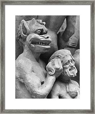 Devil Pushing A Damned Person In The Fire Framed Print by French School