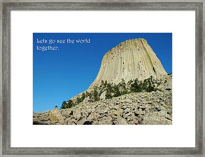 Devils Tower Card 2 Framed Print by Micah May