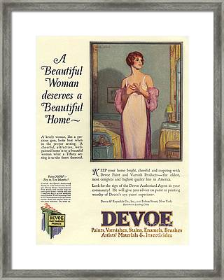 Devoe Varnish 1920s Usa Cc Portraits Framed Print by The Advertising Archives