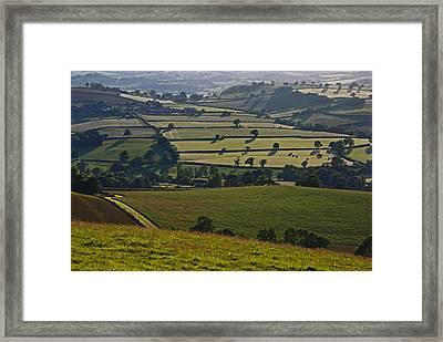 Devonian Tapestry Of Fields Framed Print by Pete Hemington