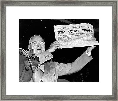 Dewey Defeats Truman Newspaper Framed Print by Underwood Archives