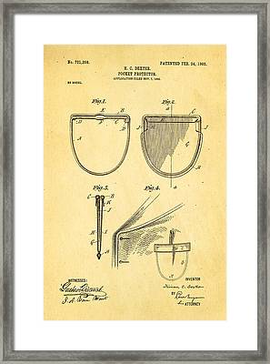 Dexter Pocket Protector Patent Art 1903 Framed Print by Ian Monk