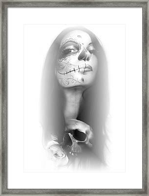 Sugar Skull - ' Dia De Los Muertos Rachel ' Framed Print by Christian Chapman Art
