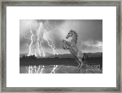 Dia Mustang Bronco Lightning Storm Bw Framed Print by James BO  Insogna