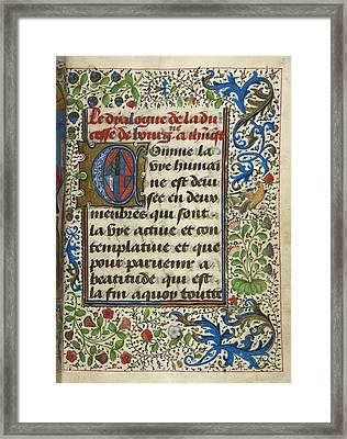Dialogue Of The Duchess Of Burgundy With Framed Print by British Library