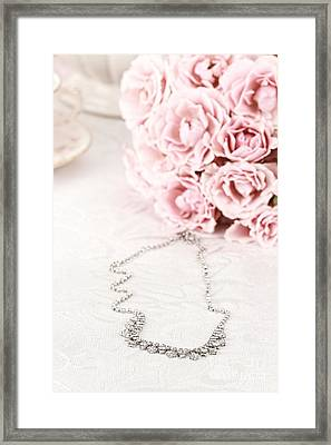 Diamond Necklace And Pink Roses Framed Print by Stephanie Frey