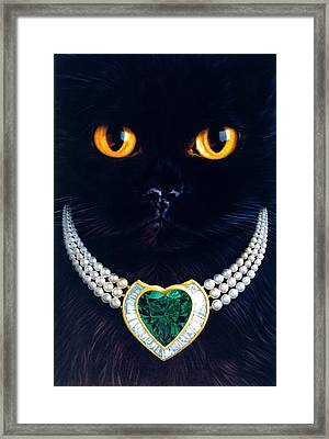 Diamonds Are A Cats Best Friend Framed Print by Andrew Farley