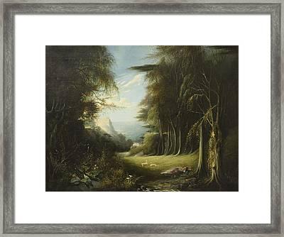 Diana Asleep In A Woodland Glade Framed Print by English School
