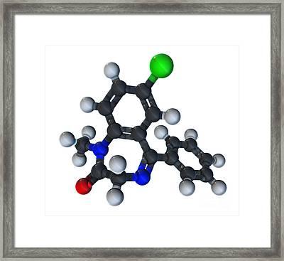 Diazepam Molecular Model Framed Print by Evan Oto