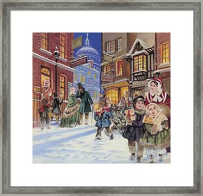Dickensian Christmas Scene Framed Print by Angus McBride