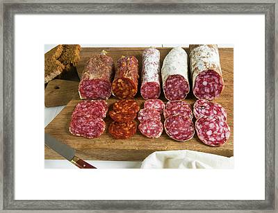 Different Type Of Tuscan Salami Framed Print by Nico Tondini