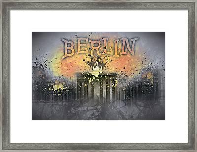 Digital-art Brandenburg Gate I Framed Print by Melanie Viola