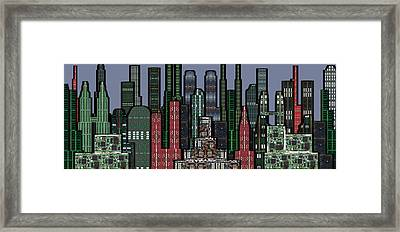 Digital Circuit Board Cityscape 5a - Wide Framed Print by Luis Fournier