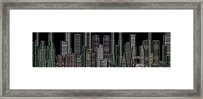 Digital Circuit Board Cityscape 5d - Blacktops Framed Print by Luis Fournier