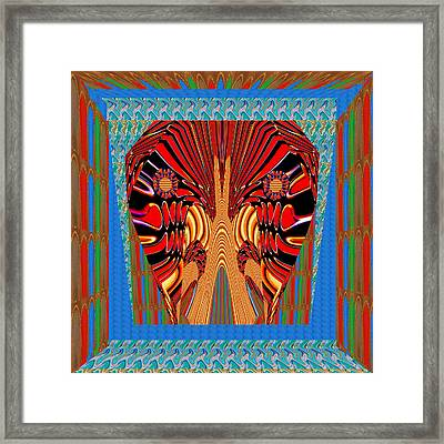 Digital Fantasy Exotic Snake Head And Jaws Framed In Beautiful  Graphic Pattern Framed Print by Navin Joshi