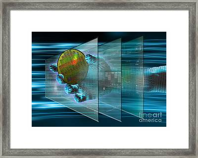 Digital Interface Composite Framed Print by Mike Agliolo